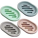 SENHAI 4Pcs Soap Dish for Shower Soap Box, Soap Saver Case Holder with Drain for Bathroom Counter, Shower, Kitchen, Keep Soap