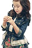 【Firefly Shop】 女の子 Gジャン デニム ジャケットアウター フェイク レイヤード フリル ユーズド風 ガールズ (100cm)
