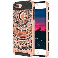 iPhone 7Plusケース, KMISS 2in1ハイブリッドケースwith Henna MandalaフローラルデザインPC +シリコンハイブリッドHigh Impact Defenderケースコンボハードソフトケースカバーfor Apple iPhone 7Plus 5.5インチ