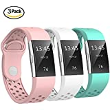 """Fitbit Charge 2 Bands Sport Silicone, Swees Replacement Breathable Sport Bands Small & Large (5.7"""" - 8.3"""") with Air Holes for Fitbit Charge 2 Women Men, Black, Grey, Navy Blue, Red, Pink, White, Teal"""