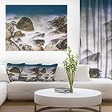 """デザインアートロッキーWaves at Haeundae Coast Busan Contemporary Seascapeアートキャンバス、ブルー 40x30"""" ブルー PT10710-40-30"""