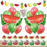 西瓜 スイカ 飾り付け セット 誕生日 女の子 夏祭り ウェディング 子供 可愛い 果物 フルーツ 風船 バルーン ストロー ケーキトッパー バナー 82枚セット