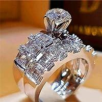 自由奔放に生きる女性の結晶ジルコンウェディングリングセットファッション 925 シルバービッグ石指リング約束ブライダル婚約指輪女性のためのクリスタルリングii