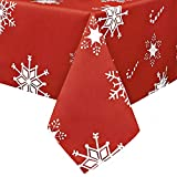 Obstal Rectangle Christmas Table Cloth, Oil-Proof Spill-Proof and Water Resistance Tablecloth, Decorative Fabric Table Cover for Outdoor and Indoor Use (60 x 102 inch, Snow-Flake)