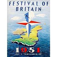 Advert Exhibition Festival Britain Map Island 1951 Compass UK Art Print Poster Wall Decor 12X16 Inch 広告展覧会祭り英国地図島イギリスポスター壁デコ