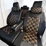 Z-style ルークス 専用 シートカバー ショコラチェック ブラック×ダークブラウン ZZ15-CH06r