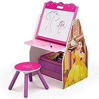 Delta Children Activity Center with Easel Desk, Stool, Toy Organizer, Disney Princess [並行輸入品]
