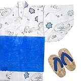 (キョウエツ) KYOETSU ボーイズ変わり織り浴衣 3点セット bh もみじ柄 黒 グレー 紺 (100cm, E-グレー)