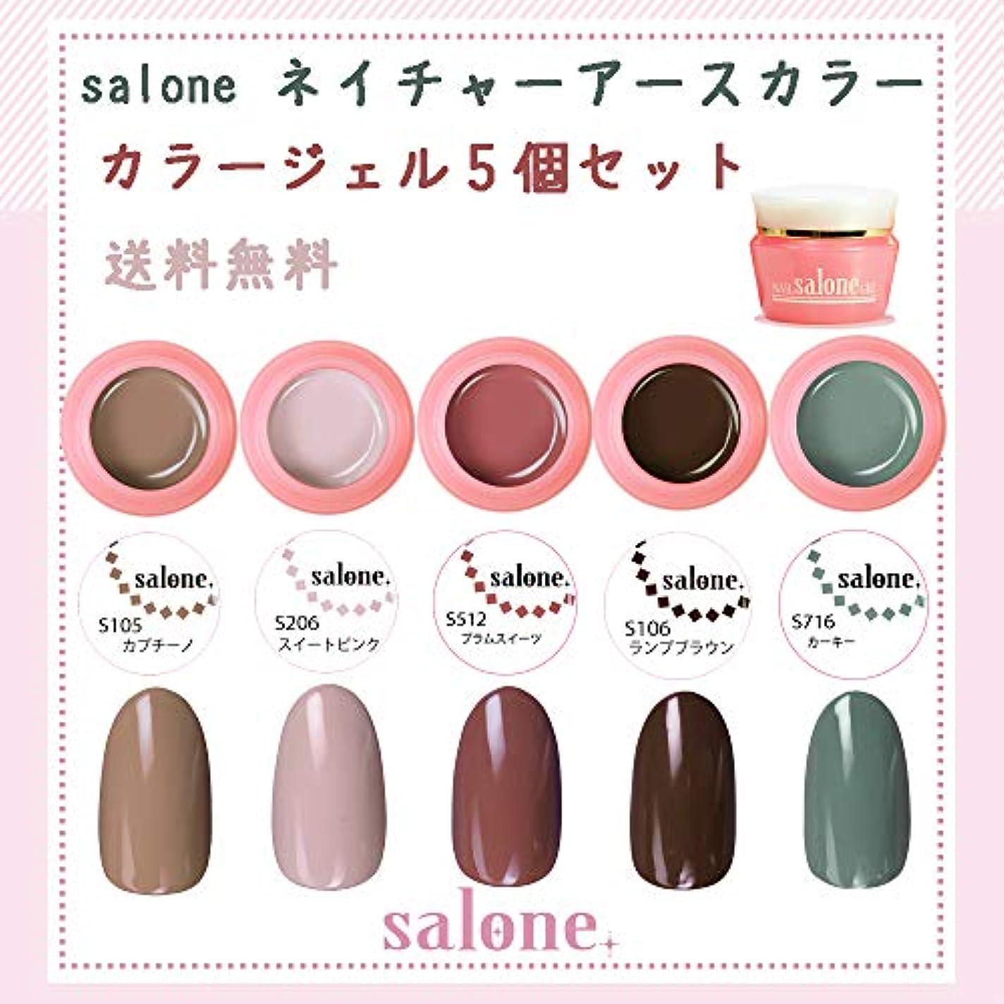 晩ごはんピンポイント表向き【送料無料 日本製】Salone ネイチャーアースカラー カラージェル5個セット ボタニカルでネイチャーなカラーをチョイスしました。