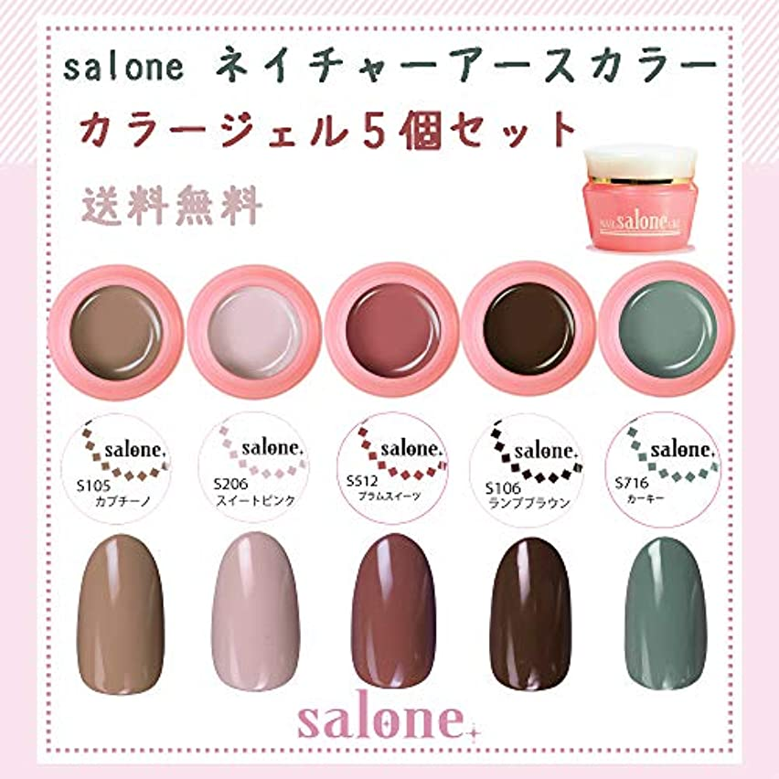 メイト繊毛後方【送料無料 日本製】Salone ネイチャーアースカラー カラージェル5個セット ボタニカルでネイチャーなカラーをチョイスしました。