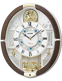 セイコー クロック 掛け時計 電波 アナログ からくり 40曲 メロディ 回転飾り 茶マーブル 模様 RE575B SEIKO