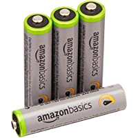 Amazonベーシック 充電池 高容量充電式ニッケル水素電池単4形4個パック(充電済み、最小容量 800mAh、約500回使用可能)