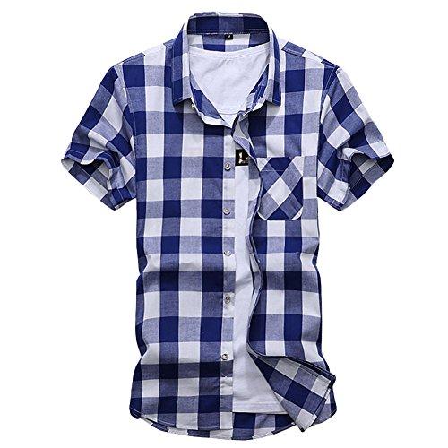 CEEN メンズ シャツ 半袖 カジュアル 男性用 爽やか おしゃれ ポケットあり チェック柄 ギンガム 綿 ボタンダウン 折襟 大きいサイズ 夏 春