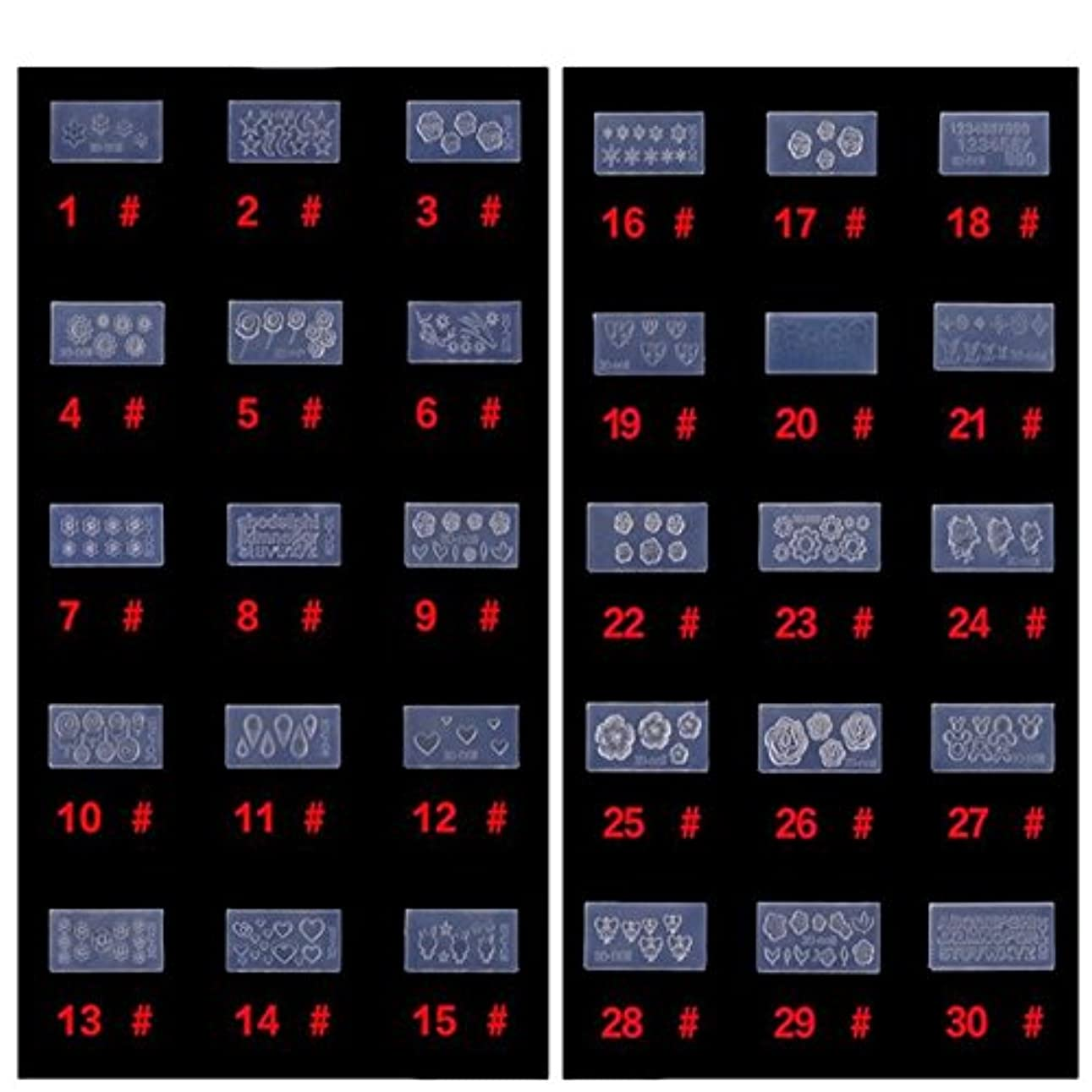 ガイダンス一般的な委任するシリコン モールド 3D ネイル用 アートデコ まとめて30個 ランダムセット レジン 道具 型 型どり