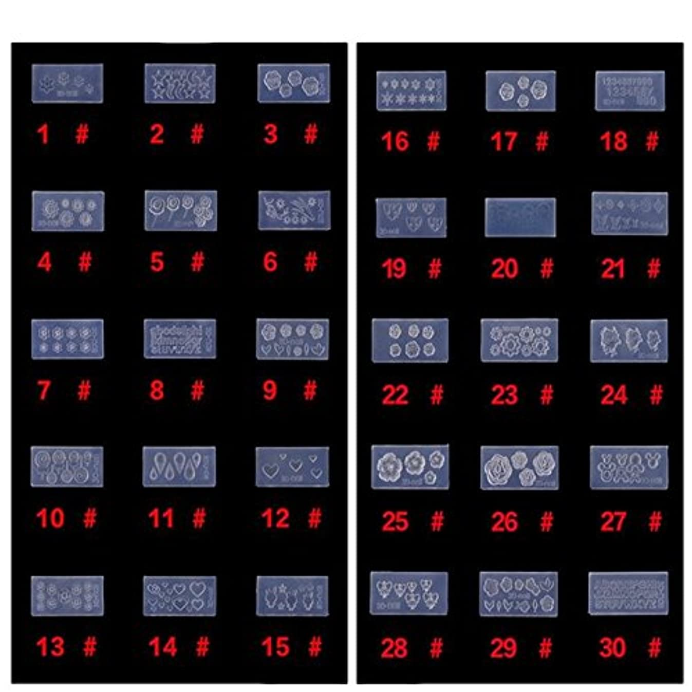 無一文有益なほんのシリコン モールド 3D ネイル用 アートデコ まとめて30個 ランダムセット レジン 道具 型 型どり