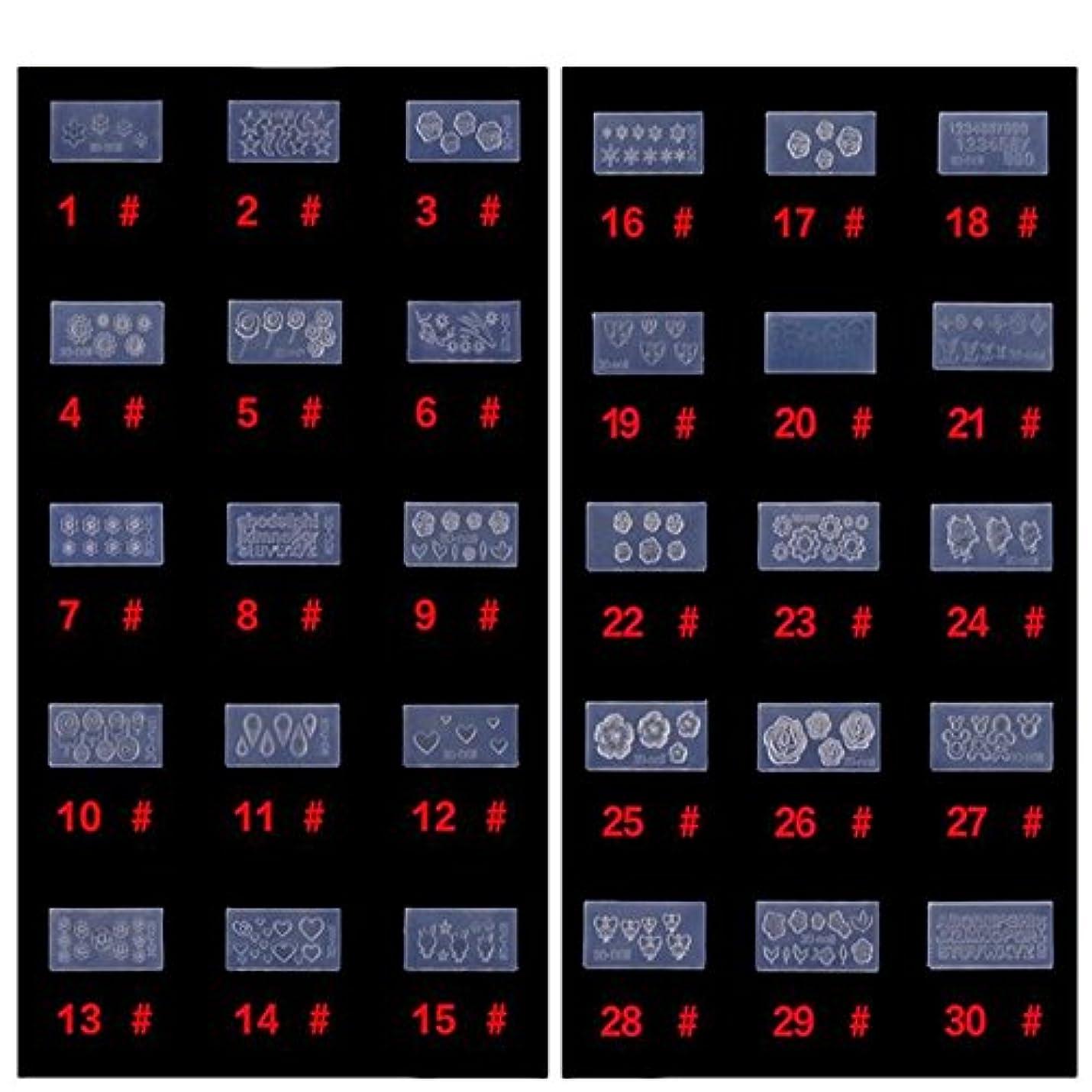 絶望的な報復怠シリコン モールド 3D ネイル用 アートデコ まとめて30個 ランダムセット レジン 道具 型 型どり