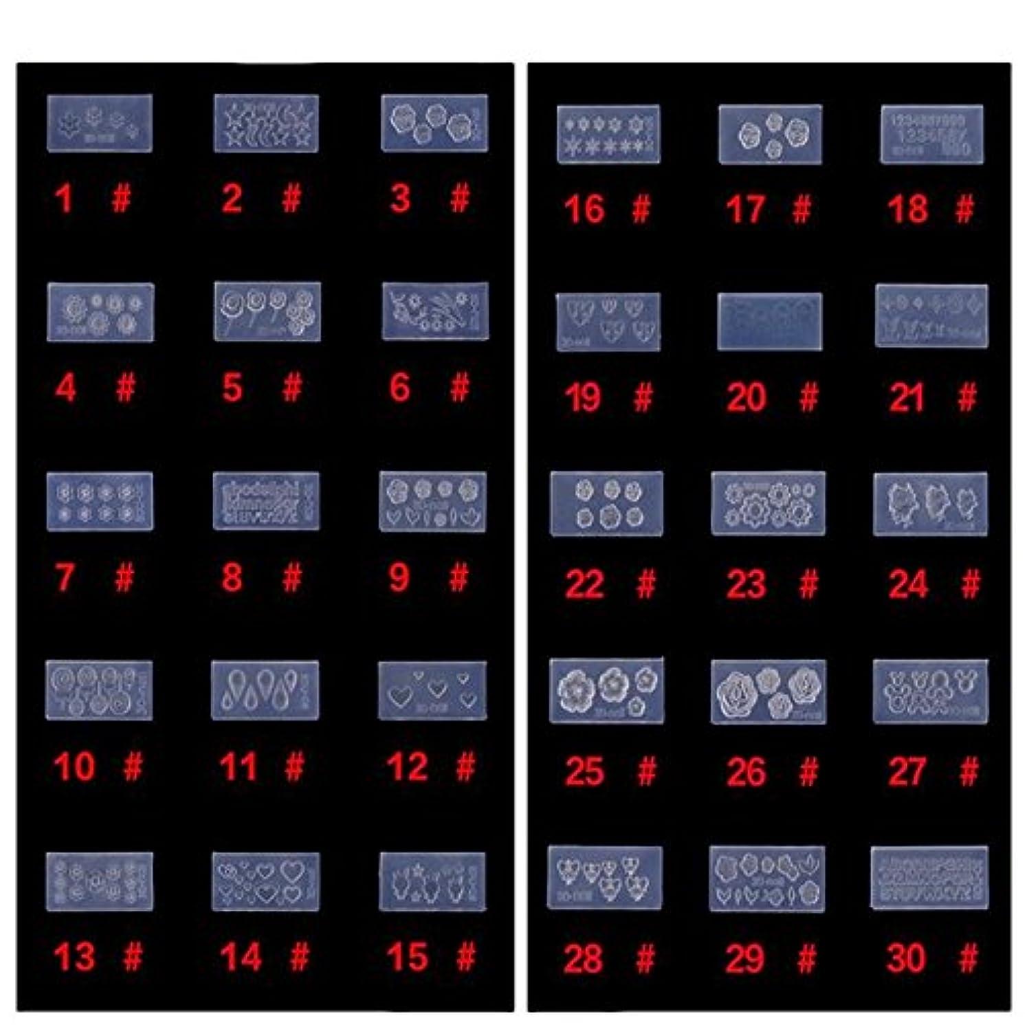 チーズ祭り支援するシリコン モールド 3D ネイル用 アートデコ まとめて30個 ランダムセット レジン 道具 型 型どり