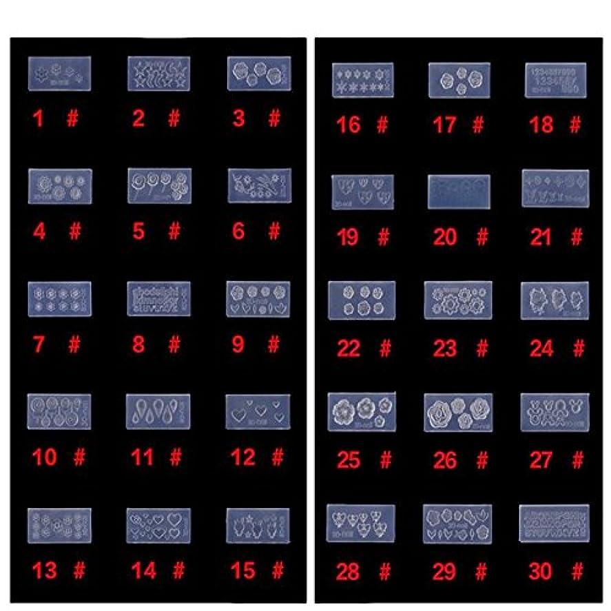 パターン端デモンストレーションシリコン モールド 3D ネイル用 アートデコ まとめて30個 ランダムセット レジン 道具 型 型どり