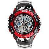SKMEI 腕時計 キッズ アナデジ表示 日付曜日表示 LED クロノグラフ 防水 スポーツウォッチ レッド