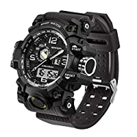 メンズミリタリーウォッチ デュアルディスプレイ 防水スポーツデジタル腕時計 大きな手首 アラーム付き ブラック