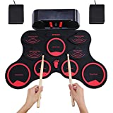 Docooler ammoon Portable Electronic Drum Set Digital Roll-Up MIDI Drum Kit 9 Silicon Durm Pads Built-in Stereo Speakers Rechargeable Lithium Battery with 2 Foot Pedals for Kids Children Beginners