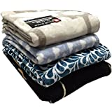 洗える フランネル 毛布 140×190 黒・紺・グレー・茶・ベージュ系 柄おまかせ