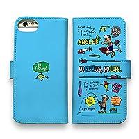 AnglersLife 手帳型 スマホケース iPhone アイフォン 釣りに行きませんか?_カラフルスカイブルー 【iPhone8】