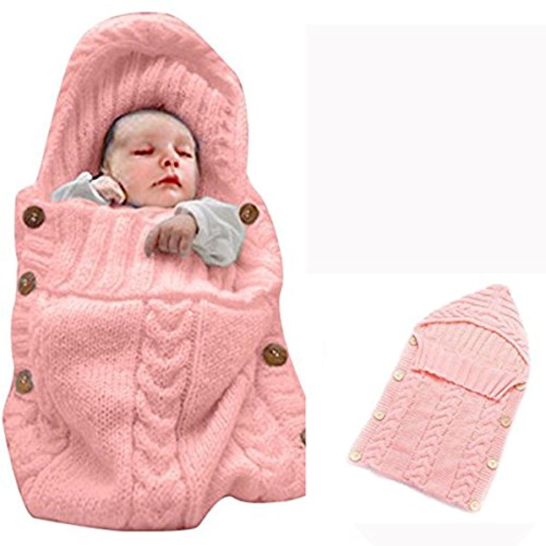 Kanemt ベビー用寝袋 ニットおくるみ 赤ちゃん 柔らかい肌触り 手編み感 ブランケット 秋冬 出産祝い 記念撮影 可愛い (ピンク)