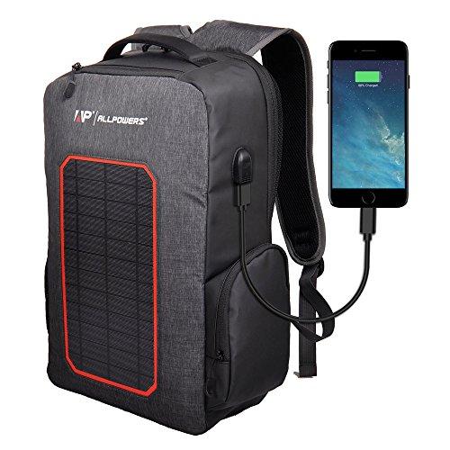 ソーラーリュックサック ALLPOWERS ソーラーパネル 7W モバイルバッテリー 6000mAh容量内蔵 太陽光蓄電 太陽エネルギー充電 登山 アウトドア キャンプ ハイキング 緊急 iphone Android 携帯電話対応ケーブル付属