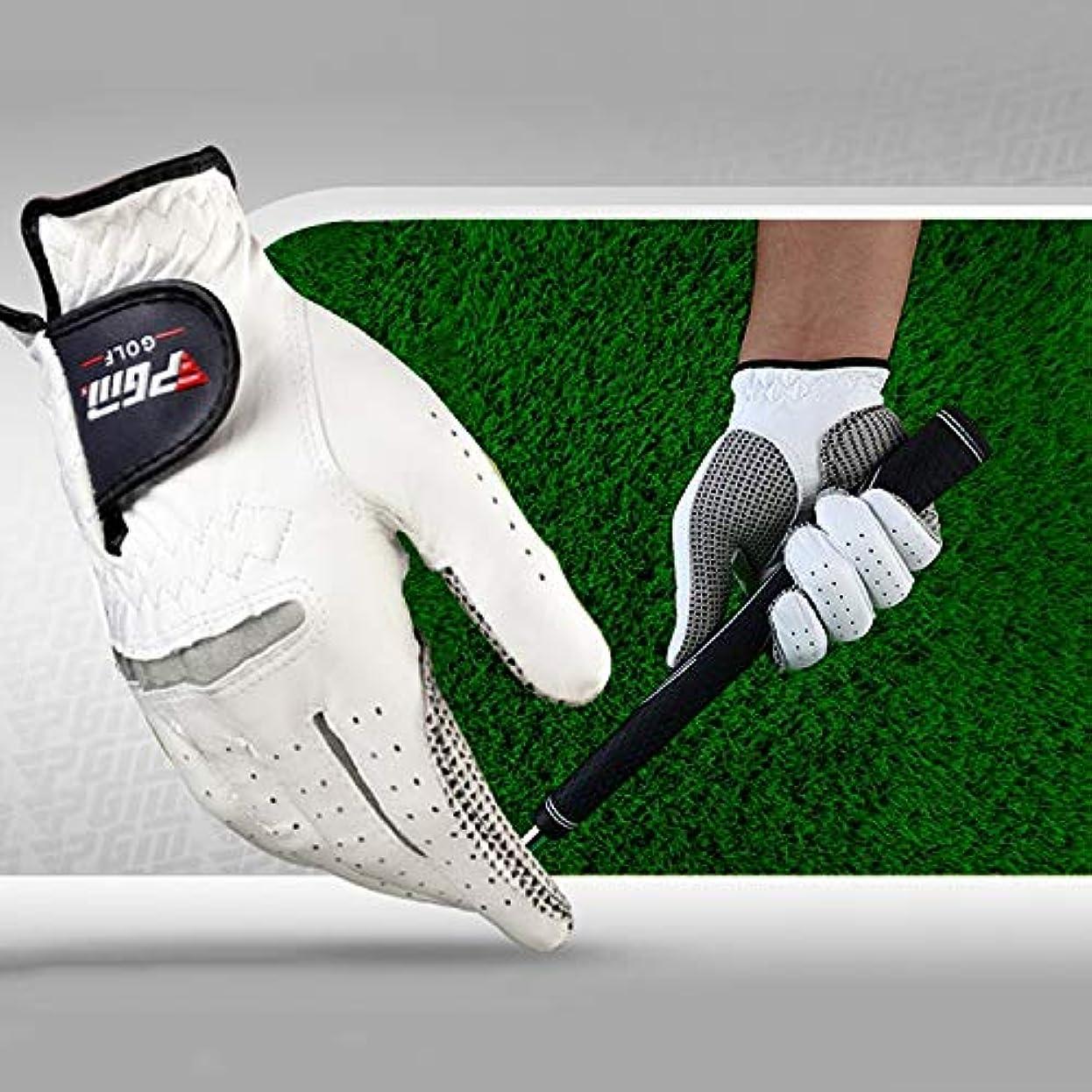 コミュニケーション通貨ストライドゴルフ用品 右手の羊皮滑り止めの粒子ゴルフメンズ手袋、サイズ:24#