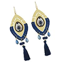 Baosity 全3色 ピアス 人工宝石 ボヘミアン タッセル 耳飾り 魅力 ファッション - 青