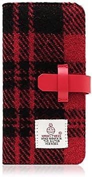SLG Design 2020 iPhone SE / 8 / 7 ケース カバー Harris Tweed Diary レッド×ブラック 手帳型 本革 アイフォン カバー【日本正規代理店品】