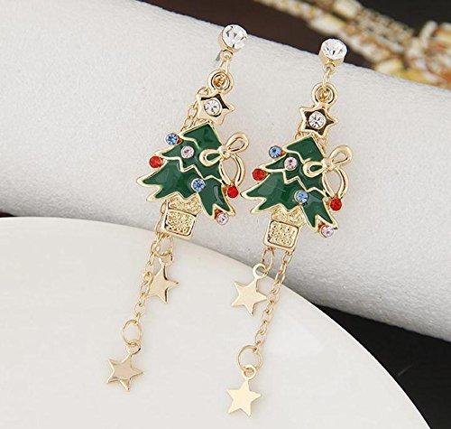 Bullidea 1 Pair of Sparkly Crystal Rhinestone Christmas Trees Earrings Ear Stud Christmas Costume Jewellery