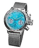 メンズ腕時計クロノグラフシルバートーンメッシュブレスレットKonigswerkブルーダイヤルユーロデザインaq100124g