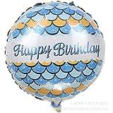 Taofang 18インチハッピーバースデーアルミフィルムバルーン誕生日パーティーの装飾用品 バルーン (Color : 青, Size : ワンサイズ)
