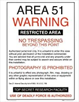 AREA 54 Warning Poster 19.5 x 15.75 Art Print Poster ALIENS TOP SECRET GOVERNMENT x-files 【Creative Arts】 [並行輸入品]
