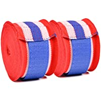 Semi-Elastic Boxing Hand Wraps for Boxing, Muay Thai Taekwondo and Martial Art, 460cm Red, White and Blue (Pair)