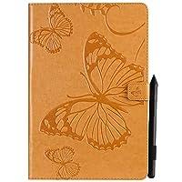 YHUISEN 蝶の花の花柄PUレザーウォレットスタンドタブレットケースサムスンギャラクシータブS4 10.5インチ2018モデルSM-T830 / T835 (色 : オレンジ)