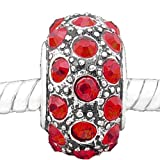 SEXY SPARKLES (セクシー スパークル) 「Red Crystals Charm」7月の誕生石 シルバー チャームビーズ パンドラ、トロール、カミリアに使用可能
