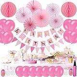 Tebrcon 誕生日 飾り セット 風船 ピンクインフレータブルチューブ 付き HAPPY BIRTHDAY 装飾 バースデー ガーランド バースデー パーティー 誕生日 飾り付け