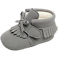 Weixinbuy Newborn Boy Girl Soft Sole Tassel Bowknot PU Leather Warm Boots Shoes
