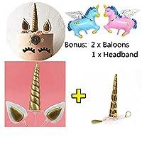 JuanYa Handmade Unicorn Cake Topper Bonus with Unicorn Headband 2 Pcs Unicorn Balloons Unicorn Party Supplies Set - Gold [並行輸入品]