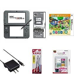 New ニンテンドー3DS LL メタリックブラック + とびだせ どうぶつの森 amiibo+ (「『とびだせ どうぶつの森 amiibo+』 amiiboカード」1枚 同梱) - 3DS + New 3DS LL用アクセサリ6種 セット