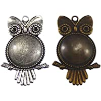 Assorted Antiqued Owl Bird Animal Setting Pendant Tray Bezel Blanks for Jewelry Making (Popular 2 Owls)