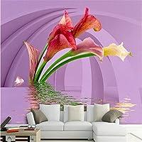 Sproud 壁紙 Zantedeschia 水逆反射 3D ステレオテレビ背景の壁面装飾的な絵画の 3D の壁画壁紙 350 Cmx 245 Cm