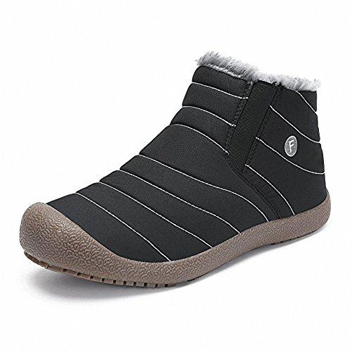 スノーシューズ レディース メンズ 防水 防寒 防滑の綿靴 雪靴 通学 通勤用(ブラック 26)