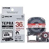 キングジム 「テプラ」PROテープカートリッジ マグネットテープ 白/赤文字 36mm SJ36SR