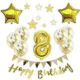 【Big Hashi 】お子様誕生日パーティー HAPPY BIRTHDAY アルミニウム 数字(8)星バルーン(2個)バルーンゴールド 誕生日 飾り付け セット (js-xin08)