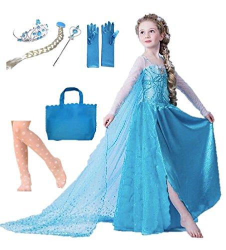 Fuwafuwachild エルサ アナと雪の女王 7点セット《ハートステッキ150cm》 キッズ コスチューム 仮装 衣装 (7点《ハート150cm》)