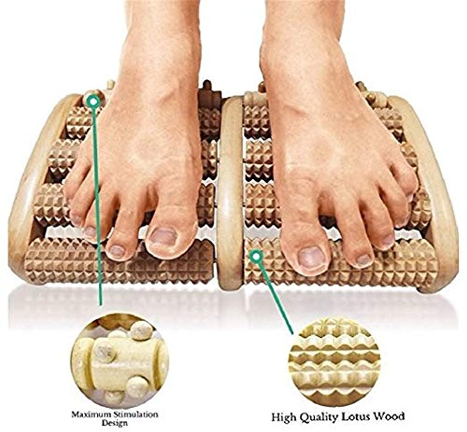 ライオネルグリーンストリートとても適用済み足のマッサージローラーは足底筋膜炎を和らげる痛み指圧マッサージリラックスナチュラル木製ギフト反射療法チャート家族のギフト
